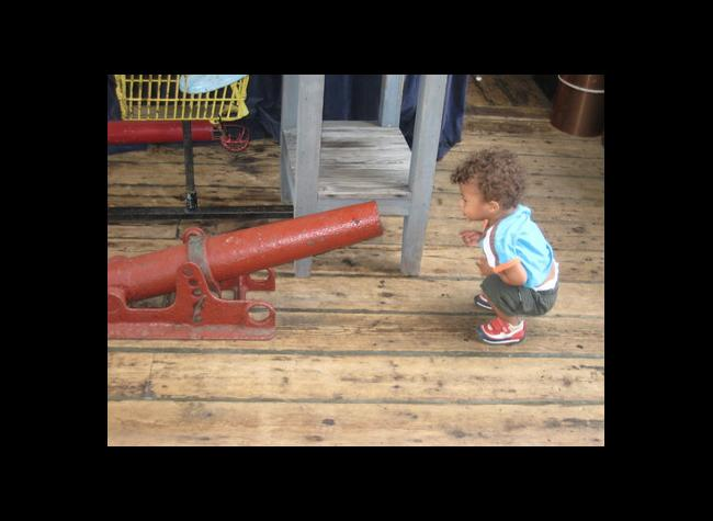 Little Visitor Gets Acquainted with Rope Cannon